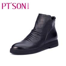 百田森 PHS13922 冬季平底平跟短靴休闲时尚牛皮套筒女靴子