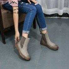 玛菲玛图秋冬新款英伦复古马丁靴女学生平跟短靴时尚黑色厚底套筒女靴大码短靴009-26