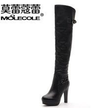莫蕾蔻蕾 2017秋冬季高跟过膝长靴英伦风靴子女细跟高筒靴  A921