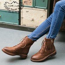 玛菲玛图秋冬新款欧美粗跟短靴英伦风复古马丁靴女潮骑士靴女厚底靴子1561-3S