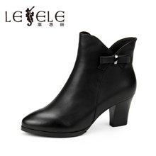 LESELE/莱思丽冬季新款女靴职业女鞋 圆头侧拉链粗高跟短靴EZ61-LD6145
