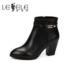 LESELE/莱思丽冬季新款牛皮高跟女靴子 拉链粗跟及踝女短靴EZ61-LD6143