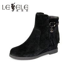 LESELE/莱思丽新款冬优雅牛皮女靴 圆头流苏拉链内增高短靴KE61-LD1033