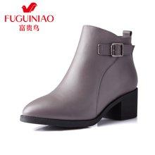富贵鸟(FUGUINIAO)短靴女单靴马丁靴英伦风短筒女靴子冬靴G69E670C