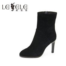 LESELE/莱思丽新款冬季羊京女靴 细跟短靴高跟拉链优雅靴女KE61-LD6229