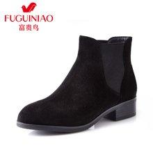 富贵鸟(FUGUINIAO)秋冬新款短靴女平底马丁靴英伦切尔西女靴潮流短筒靴子 G69M115C