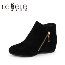 LESELE/莱思丽新款秋季牛猄女鞋 圆头内增高休闲鞋拉链短鞋EZ61-LD1202