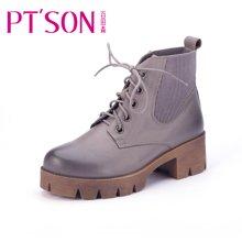 百田森 PHS13923 冬季中跟粗跟马丁靴牛皮短靴前系带休闲女靴子