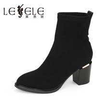 LESELE/莱思丽新款冬季高跟通勤女靴 弹力绒圆头粗跟女短靴XF61-LD7500
