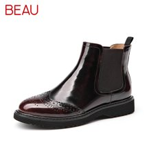 BEAU春秋单靴切尔西短靴女平底漆皮雕花及踝靴马丁靴女英伦风靴子04013