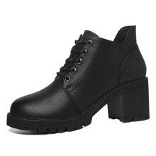 莫蕾蔻蕾秋冬新款高跟马丁靴女短靴粗跟靴子英伦复古防水台 72502