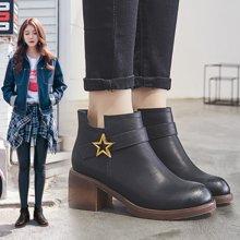 OKKO2017秋冬季新款切尔西靴英伦风高跟单靴加绒靴子马丁靴粗跟短靴女LPJ881