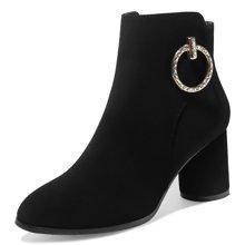 莫蕾蔻蕾秋冬欧美女靴韩版粗跟圆头时尚金属圆扣百搭女靴子 7006