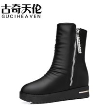 古奇天伦 2017秋冬新款正品圆头侧拉链女靴松糕跟女中筒靴 TL/8535