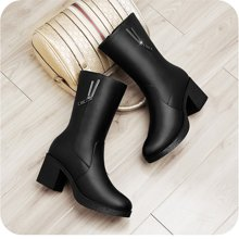 百年纪念+圆头侧拉链女靴+方跟纯色中筒靴+防水台女鞋子bn150601