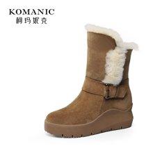 柯玛妮克 冬季磨砂皮毛一体女靴 休闲棉靴厚底中筒靴雪地靴女k67737