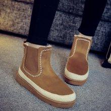 OKKO新款冬季雪地靴磨砂潮女鞋平底短筒短靴防水加绒加厚保暖棉鞋女靴LCQ-757