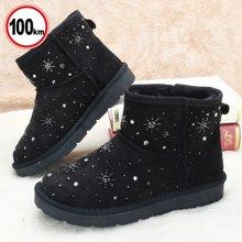 100km冬季防滑短靴女鞋2017亲子雪地靴加绒雪花百搭棉鞋女靴