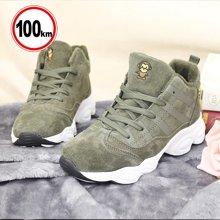 100km女鞋高帮运动棉鞋女冬季保暖加绒鞋子女2017新款韩版百搭
