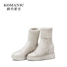 柯玛妮克 2017冬季新款女靴子 牛皮内增高毛线袜子靴超高跟中筒靴77011