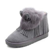 honeyGIRL2017秋冬新款女鞋真皮女靴流苏雪地靴加绒毛靴棉鞋短靴HG17WI08-XT403