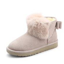 honeyGIRL2017秋冬女靴子新款女鞋真皮棉靴加绒短靴女短筒雪地靴HG17WI08-XT406
