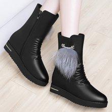 百年纪念2017圆头中筒靴侧拉链中筒靴女靴内增高中筒靴女短靴中筒靴防水台女鞋子bn1507