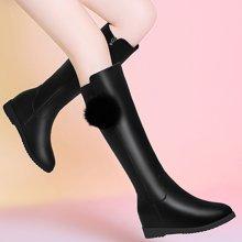百年纪念2017新款圆头内增高女靴侧拉链纯色女长筒靴防水台女鞋子bn1585