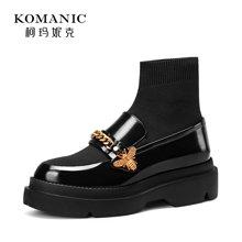 柯玛妮克 2017冬季新款圆头厚底女靴子 牛皮弹力针织袜靴中筒靴女77267