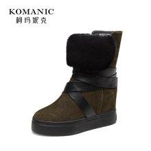 柯玛妮克 2017冬季新款加绒女鞋子 牛反绒圆头内增高套筒保暖中靴K67077