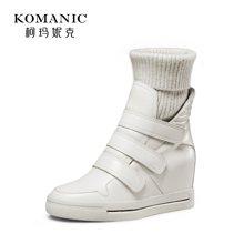 柯玛妮克 2017冬季新款靴子女冬毛线靴 圆头内增高休闲靴女中筒靴k67020