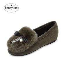 honeyGIRL2017秋冬新款真皮女鞋毛毛单鞋平底鞋内增高加绒棉鞋子HG17WI08-XT448