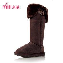 米基冬高筒雪地靴女真皮高筒靴子女保暖英伦骑士皮带扣高筒靴X20
