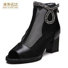 东帝名坊2017新款单靴女中筒高跟粗跟网纱镂空时尚鱼嘴凉靴 D630TH00
