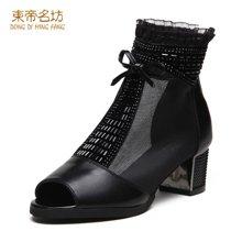 东帝名坊2017新款单靴 时尚鱼嘴网纱高跟粗跟女靴潮流百搭女鞋 D6TH3001