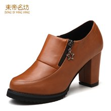 东帝名坊2018新款单鞋 圆头深口高跟粗跟防水台潮流时尚女鞋 D567TH53