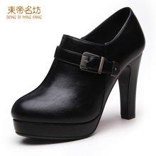 东帝名坊2017新款高跟深口时尚尖头单鞋女细跟防水台小皮鞋女 D670TH00