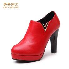 东帝名坊2018新款裸靴防水台套脚短款尖头高跟细跟潮流时尚短靴女 D670TH02