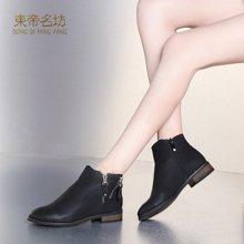 东帝名坊马丁靴女英伦风学生2018春秋季新款百搭粗跟韩版短靴复古切尔西靴 D520T59H