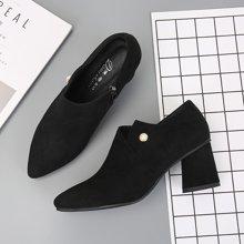 东帝名坊2018春秋季新款韩版深口单鞋粗跟英伦风短靴高跟侧拉链裸靴 D790T06H