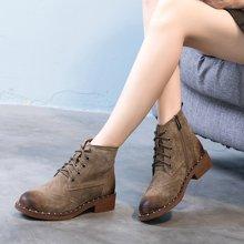 OKKO复古擦色短靴马丁靴女平底真皮侧拉链铆钉机车靴皮带扣磨砂女靴子MN5130