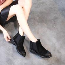 OKKO女鞋2017新款粗跟绒面短靴圆头松紧带切尔西靴女MN5131