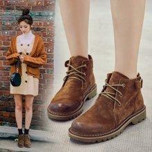 OKKO2017新款秋冬季马丁靴女英伦风学生鞋真皮粗跟复古焦糖色短靴子女LP2588