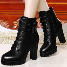 金丝兔粗跟马丁靴英伦风潮女短靴加绒秋冬新款高跟女靴子女鞋