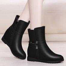 金丝兔新款秋冬季女鞋子马丁靴圆头内增高靴子女平底中筒靴女短靴女