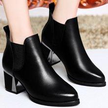 金丝兔粗跟高跟马丁靴尖头短筒女靴英伦风真皮加绒防水台时尚女鞋潮