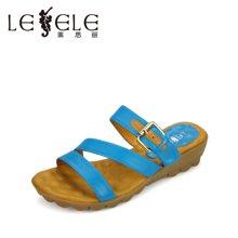 LESELE莱思丽夏季平跟牛皮女凉鞋软底防滑女凉拖甜美女鞋KE14-LB760