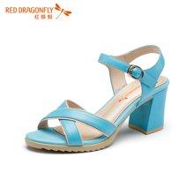 红蜻蜓女凉鞋夏款正品时尚职业纯色高跟凉鞋女5182