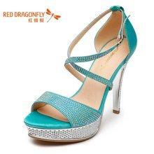 红蜻蜓 正品女鞋夏款亮片装饰时尚精美超高跟细跟女凉鞋 4192