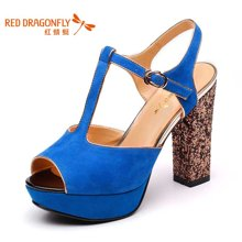 红蜻蜓 羊反绒女鞋夏款超高跟防水台时尚性感鱼嘴女凉鞋 4026